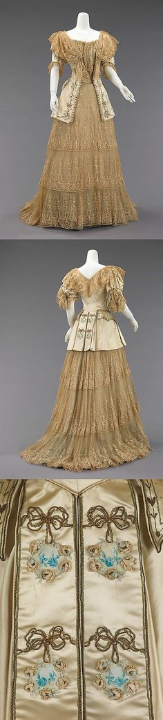 Evening dress Design House: Rouff (French, 1844–1914) Date: ca. 1895 Culture: French Medium: silk, metal Brooklyn Museum Costume Collection at The Metropolitan Museum of Art