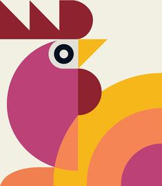 Rooster Chinese New Year on Behance Graphic Design Branding, Graphic Design Illustration, Illustration Art, Rooster Chinese New Year, Chicken Illustration, New Year Designs, Bird Prints, Geometric Art, Bird Art