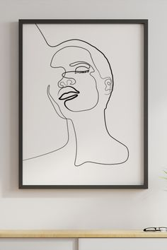 Line Art Print, Single Line Art, Woman face, Face Print, Female Art, Minimalist Art, Figure drawing, Nude art, Abstract, Digital Download. Female Face Drawing, Drawing Women, Woman Drawing, Female Art, Printing Services, Online Printing, Craft Images, Face Lines, Face Face