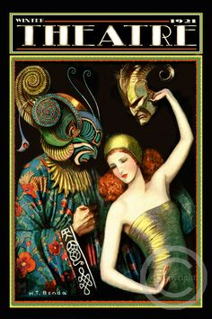 Whimsical Art Deco Theatre Poster, W. Benda Costume Masks, Stage Drama Play, Beautiful Girl with Masked Man, 1921 Giclee Art Print Art Prints, Art Deco Posters, Art Deco Era, Art Deco Illustration, Whimsical Art, Poster Art, Giclee Art Print, Vintage Illustration, Art Deco Fashion
