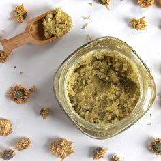 Chamomile Face Srub: 1/2 cup White Sugar, 1/4 cup jojoba or other Oil, contents of 1 Chamomile Tea Bag or try other teas- chamomile is anti inflammatory and soothing