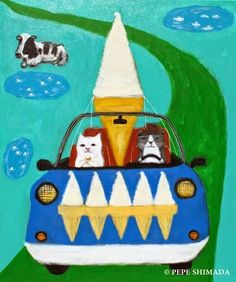 """""""Cats in Soft Ice Cream Car"""" Acrylic on Canvas Artist Pepe Shimada Copyright ©… Fruit Animals, Crayon Drawings, Japanese Cat, Cute Paintings, Illustrations And Posters, Animal Illustrations, Kawaii Art, Cat Drawing, Crazy Cats"""