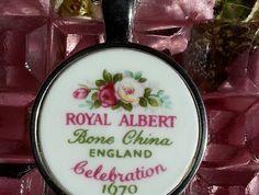 Royal Albert Celebration .... Pendant (P60) Broken China Jewelry, Royal Albert, Bone China, Sterling Silver Chains, Celebration, Ann, How To Memorize Things, Im Not Perfect, Tray