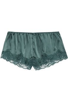 Snoozing stretch-silk and lace shorts