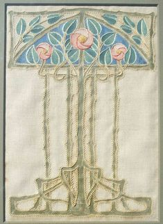 This embroidered rose panel - evocative of the work of Charles Rennie Mackintosh - was embroidered at the Glasgow School of Art. Embroidery and appliqued roses on linen, Embroidery Designs, Embroidery Transfers, Crewel Embroidery, Ribbon Embroidery, Machine Embroidery, Simple Embroidery, Floral Embroidery, Charles Rennie Mackintosh, Arts And Crafts Movement