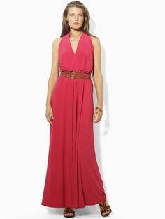 V-Neck Belted Maxi Dress, Ralph Lauren