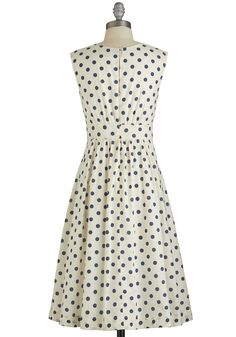 Too Much Fun Dress in Blue Dots - Long. Theres no such thing as overloading on fun, but if it were possible, why not go all-out in this adorable sleeveless dress? #white #modcloth