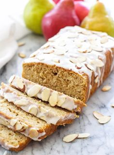 Cardamom Pear Bread with Almond Glaze   Spoonful of Flavor