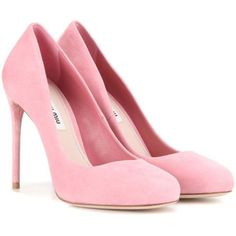 Miu Miu Suede Pumps ($770) ❤ liked on Polyvore featuring shoes, pumps, heels, pink, sapatos, pink suede pumps, suede shoes, suede pumps, pink suede shoes and heel pump