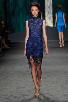 Navy chantilly hand-pieced lace sheath dress with collar over azure guipure sleeveless shift