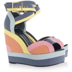 Pierre Hardy Color-block canvas wedge sandals (27,720 PHP) found on Polyvore