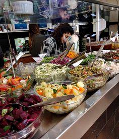 Cafe  Birenbabaum  vegetarian buffet Vegetarian Buffet, Tel Aviv, Table Settings, Eat, Place Settings, Tablescapes