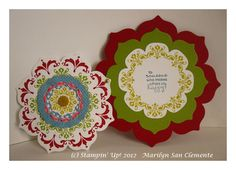 Fun Stampin' with Margaret!  Daydream Medallions & Floral Frames card.  Delicate Doilies Sizzlet.  swap from Marilyn San Clemente