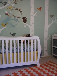 DIY birch tree nursery wall mural hand painted by mom: My ideas for the nursery began with paint color swatches; I had a feel, an impression I wanted to convey in the decor and color would play Vintage Baby Boy Nursery, Vintage Baby Boys, Baby Nursery Diy, Baby Boy Rooms, Baby Boy Nurseries, Girl Nursery, Bunny Nursery, Vintage Mom, White Nursery