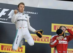 Nico Rosberg celebrates winning the Russian Grand Prix with a leap on the podium - his seventh straight victory going back to 2015