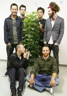 Because Chester is making out with a bush, Mike is cheesing like it's grade school picture day, Phoenix looks like he's taking a team photo and Brad's hair is out of control