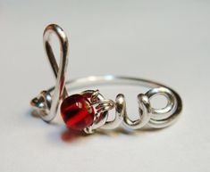 Love Ring  Love Red Ring  Silver Love Ring  by SpiralsandSpice, $26.00