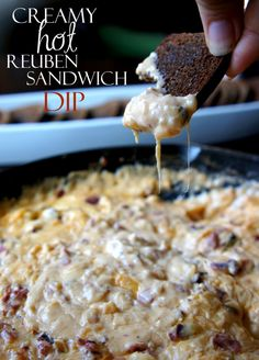 Creamy Hot Reuben Sandwich Party Dip recipe for St. Party Dips, Appetizers For Party, Christmas Appetizers, Reuben Sandwich, Reuben Dip, Dip Recipes, Appetizer Recipes, Cooking Recipes, Delicious Appetizers