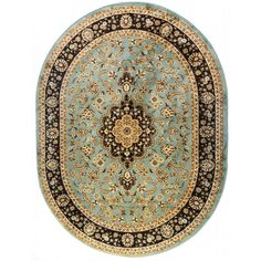 Medallion Traditional Light Blue Oval Area Rug (5'3 x 6'1)   Overstock™ Shopping - Great Deals on Round/Oval/Square