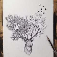 #ink #tattoo #drawing #illustration #sketch #deer #alfredbasha
