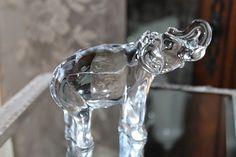 BACCARAT FRANCE ART GLASS LARGE ELEPHANT TRUNK UP FIGURE ETCHED SIGNED Baccarat