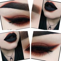 Trendy Makeup Looks Dark Lipstick Goth Ideas Demon Makeup, Dark Eye Makeup, Dramatic Makeup, Alien Makeup, Zombie Makeup, Sfx Makeup, Dark Lipstick Makeup, Gothic Eye Makeup, Brown Makeup
