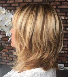 Shoulder-Length+Layered+Brown+Blonde+Hair