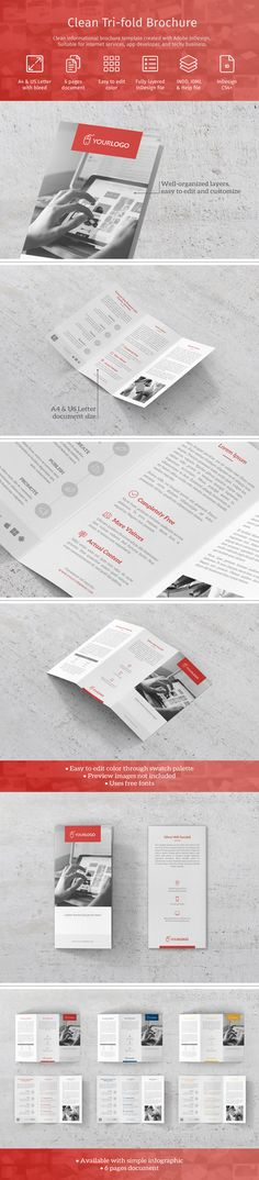 Modern Classic Tri Fold Template In A4 Us Letter Size Created With