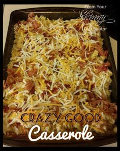 CRAZY GOOD CASSEROLE Amazingly delicious!!!! Ingredients: 4-5 boneless, skinless chicken breasts 6 strips of quality bacon 2 cans cream of chicken soup 2 cups shredded Monterrey Jack cheese 1 box (...