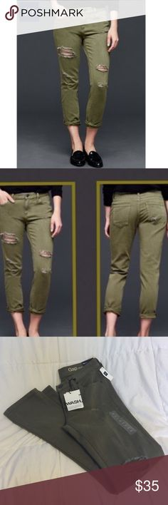 Gap1969 Distressed Girlfriend Jeans Gap1969 Distressed Olive Green Girlfriend Jeans GAP Jeans