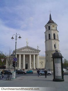 Street View of Vilnius Cathedral in Lithuania
