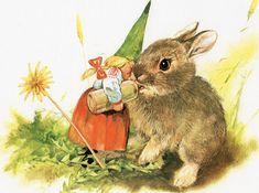 Female gnome feeding a baby bunny. (Artist: Rien Poortvliet.)
