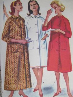 Misses Robe Casual & Comfort Nightwear Vintage McCall's 6099 Pattern Sz. Cool Patterns, Vintage Patterns, Sewing Patterns, Lingerie Patterns, Fashion Patterns, Costume Patterns, House Dress, Nightwear, Cross Stitch Patterns