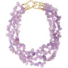 Kenneth Jay Lane Women's Triple Row Amethyst Beaded Collar Necklace ($99) ❤ liked on Polyvore featuring jewelry, necklaces, purple, kenneth jay lane, kenneth jay lane jewelry, long necklaces, purple necklace and triple necklace