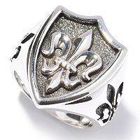 Sterling Silver Fleur de Lis Shield Ring