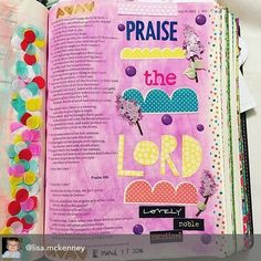 I'm totally digging this entry by @lisa.mckenney love the colors the boldness of the words and I'm in love with confetti tape!! Click trough and follow her she has lots of inspiring entries in her bible.  #biblejournalingcommunity #biblejournal #scriptureart #bibleart #icolorinmybible #illustratedfaith #biblejournaling #confettitape #pink http://ift.tt/1KAavV3