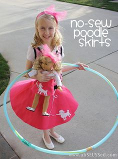 No-Sew Poodle Skirts, great for dress-up or costume, tutorial on http://www.obSEUSSed.com/2011/05/make-no-sew-poodle-skirt.html #retro #50's