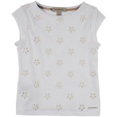Burberry Tee-shirt en jersey et broderie anglaise Blanc - 103315 | Melijoe.com