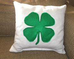 St. Patrick's Day Pillow Cover  Four Leaf by TheCreativeRaccoon, $20.00