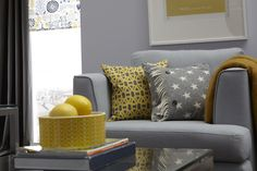 One of my absolute favourite colour combinations at the moment is mustard or ochre yellow with grey - it's fresh and fun, yet stylish and suitable for all seasons. So, when the nice people at DFS s. Living Room Grey, Home Living Room, Living Room Decor, Dining Room, Kitchen Dining, Sofa Design, Interior Design, Yellow Sofa, Room Accessories