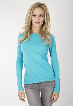"""Ladies basic long sleeve crew. www.jsapparel.net Enter special code """" JSFRIENDS """" and get 20% off on purchase. Limited time only. All JS product made in USA."""