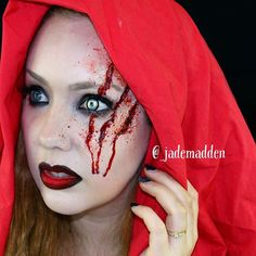 """Little Dead Riding Hood! Used Fake Blood and Paradise paints in Red & Black, and I'm wearing Red Rum on my lips + some black eyeliner! Contact lense is in the shade """"The Host"""" Halloween Eye Makeup, Halloween Contacts, Halloween Eyes, Scary Halloween Costumes, Halloween 2016, Halloween Stuff, Red Riding Hood Makeup, Red Riding Hood Costume, Mehron Makeup"""