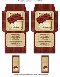 Digital Tea Bag Wrapper Christmas Poinsiettas