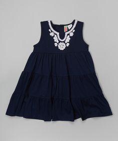 Look at this #zulilyfind! Navy Lace Tiered Dress - Infant by Sophie & Sam #zulilyfinds