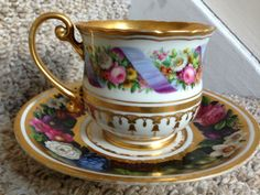 Antique Russian Imperial porcelain, Cup and Saucer of Nikolai I (1825-1855)