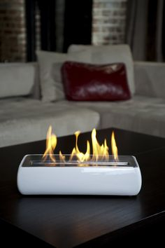 Avani Portable Bio Ethanol Fireplace in White- how cool is this thing!