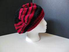 Red Sparkle Black Sequins Glitter Sparkle Hand Knit Faux Beret Slouchy Hat Teen Adult OOAK by JustAMomFromNH on Etsy