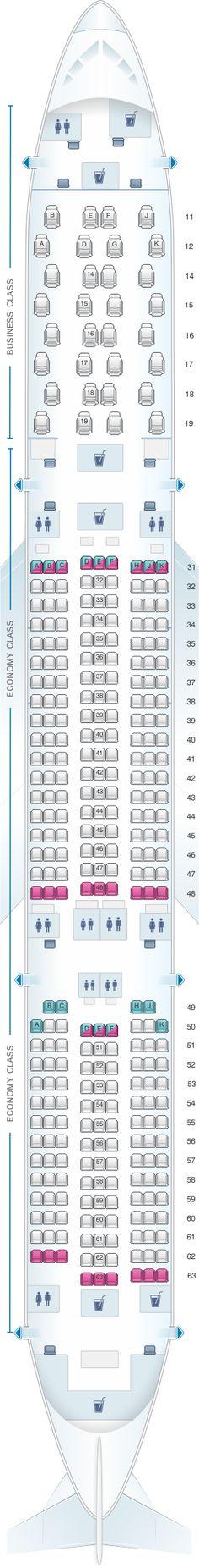 Seat Map Thai Airways International Airbus A350 900