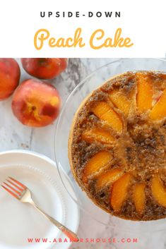 Easy Peach Upside-Down Cake is easy to make and fun to turn over after baking to see the beautiful design the peaches make. Gluten free option included in the recipe Peach Cake Recipes, Sweet Recipes, Dessert Recipes, Fruit Recipes, Fall Recipes, Summer Recipes, Bread Recipes, Cooking Recipes, Peach Upside Down Cake