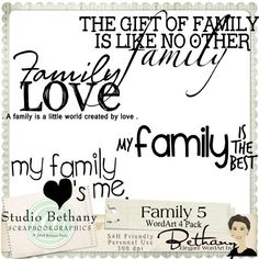 Family 5 WordArt Pack by Bethany Harty